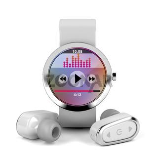 Wireless earphones and smart watch