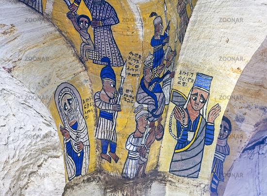 frescos in the orthodox rock-hewn church Abuna Gebre Mikael at Koraro, Gheralta, Tigray, Ethiopia