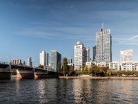 Frankfurt Skyline with Untermainbruecke at daylight with clear sky, hessen, germany