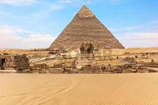 The Great Sphinx of Giza in front of the Pyramid of Khafre, Egypt