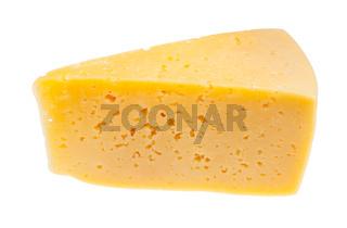 triangular piece of yellow cheese isolated