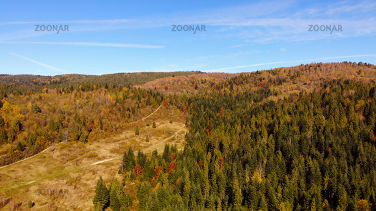 Aerial view of Carpathian Mountains, autumn landscape