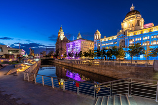 Liverpool Skyline Pier head sunset