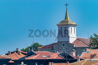 Church Assumption of the Holy Virgin in Nessebar ancient city, one of the major seaside resorts on the Bulgarian Black Sea Coast. Nesebar, Nesebr is a UNESCO World Heritage Site. A church in Nessebar