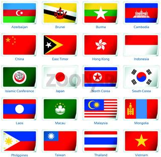 Set of twenty flags in sticker style. Eastern Asia