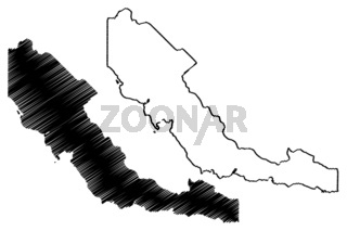 Central Province (Independent State of Papua New Guinea, PNG, Provinces of Papua New Guinea) map vector illustration, scribble sketch Central map
