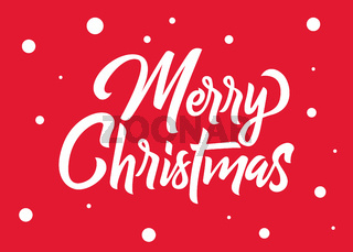 Merry Christmas hand lettering. White text with snowflakes isolated on red background. Christmas holidays typography. Vector illustration.
