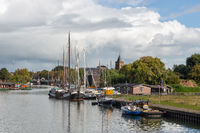 Dutch river vecht with harbor medieval city Muiden