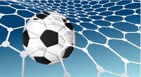Soccer ball flying into the net of a soccer goal net. Goal. Vector illustration on blue sky background