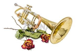 Alter verrostete Trompete mit vertrockneten Rosen freigestellt auf weiß