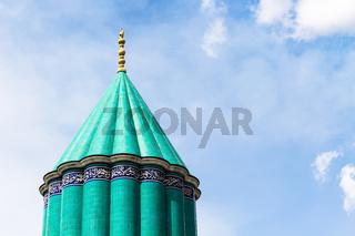 green dome of Rumi Mausoleum in Konya