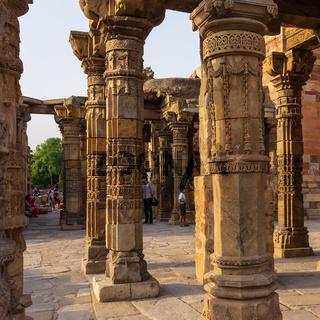 Details of antic Ruins of Jain Temple inside the Qutb Minar Complex. UNESCO World Heritage in Mehrauli, Delhi, India, Asia.