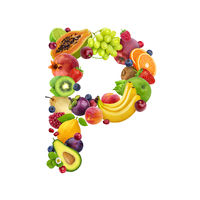 Letter P made of different fruits and berries, fruit font isolated on white background