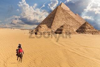 Egyptian Pyramids in the desert of Giza, fantasy view