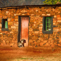 in lesotho  street village near   mountain
