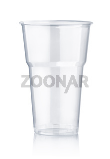 Empty disposable plastic pint cup