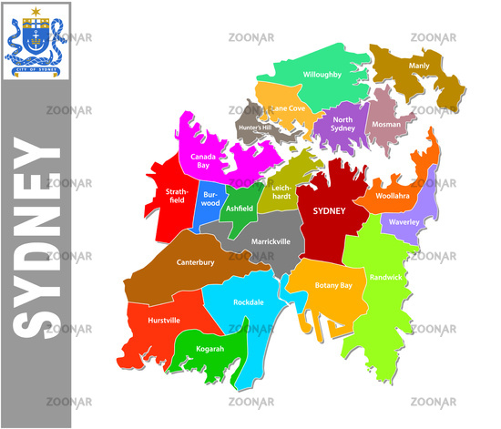 Colorful Sydney administrative and political map with coat of