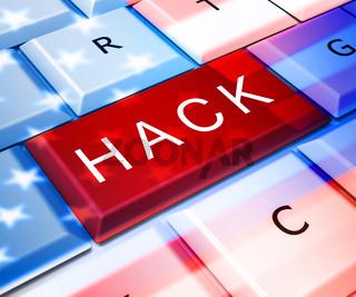 Hack Computer Key Shows Hacking 3d Illustration