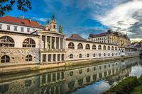 Ljubljanica River and Central Market, Ljubljana, Slovenia