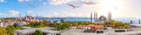 The Blue Mosque, The Hagia Sophia and the Istanbul roofs, beautiful sunny panorama
