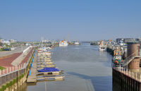 Harbor of Bensersiel at North Sea in East Frisia,lower Saxony,Germany