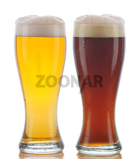 Glass of Pilsner and Dark Ale