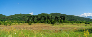 Panoramic view of the foothills of the Balkan Mountains. Bulgaria.