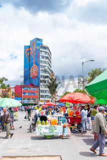 Bogota city San Victorino square open market