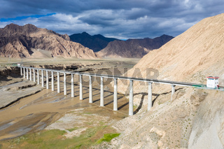 aerial view of railway bridge on qinghai-tibet plateau