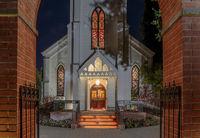 Menlo Park, California - October 2, 2019: The Façade of Church of the Nativity.