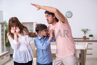 Family conflict with husband and wife and child