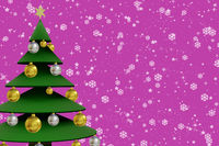 Christmas card with tree, 3D Illustration