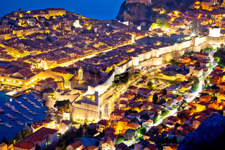 Historic town of Dubrovnik aerial evening walls and landmarks view