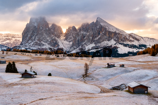 Alpe di Siusi or Seiser Alm with Sassolungo - Langkofel mountain group