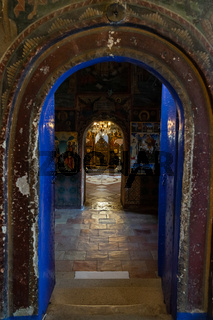 Interior of the Monastery of the Holy Transfiguration of God. Bulgarian Orthodox Church.