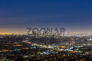 skyline of Los Angeles at night