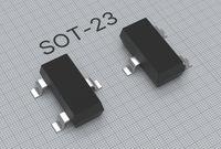 SMD SOT-23 electronic transistor placed on blueprint 3d illustration