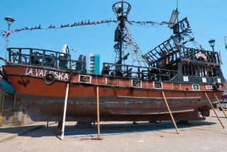 Chile Coquimbo pirate ship being restored on the pier