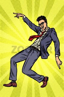 Dancing businessman. Disco dance club music