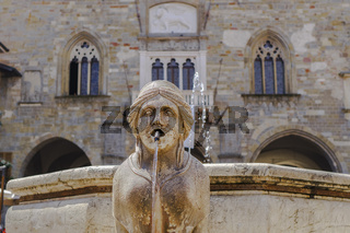 Bergamo, Italy Old Town sphinx fountain.