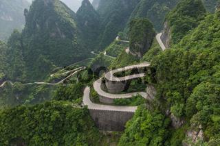 Mountains road in Tianmenshan nature park - China