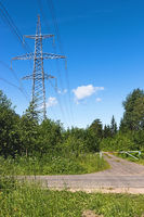 Power transmission line at the country road