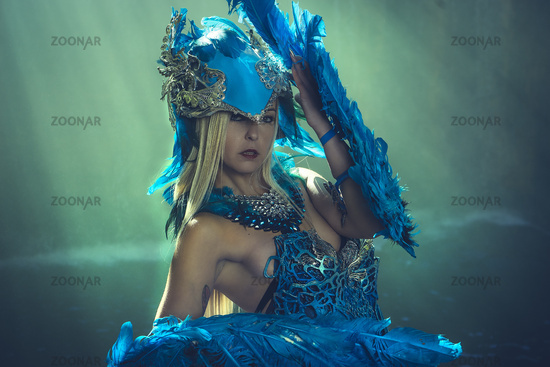 Queen, Fantasy scene, Beautiful blonde woman in fancy dress and blue angel wings on arms