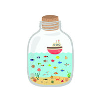 Cartoon underwater world in a bottle, exotic sea colorful fish