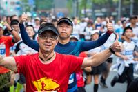 Young athletes at the Chengdu marathon