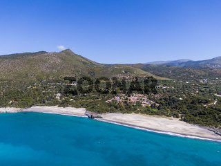 Aerial view of Capogrosso beaches near Marina di Camerota, Italy
