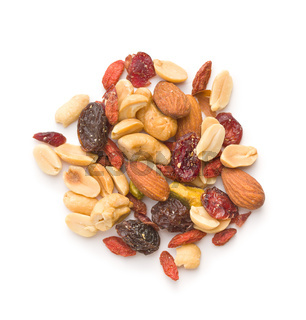 Mix of various nuts and raisins.