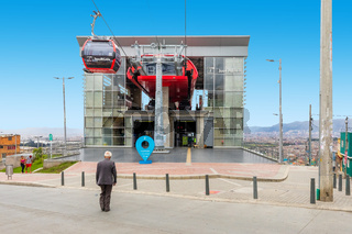 Bogota city first arrival station of the new cableway
