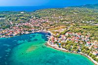 Lumbarda on Korcula island archipelago aerial view