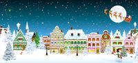 Houses snow Christmas santa snowman